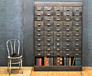 Victorian Era Apothecary, Steel Wall of Drawers Cabinet