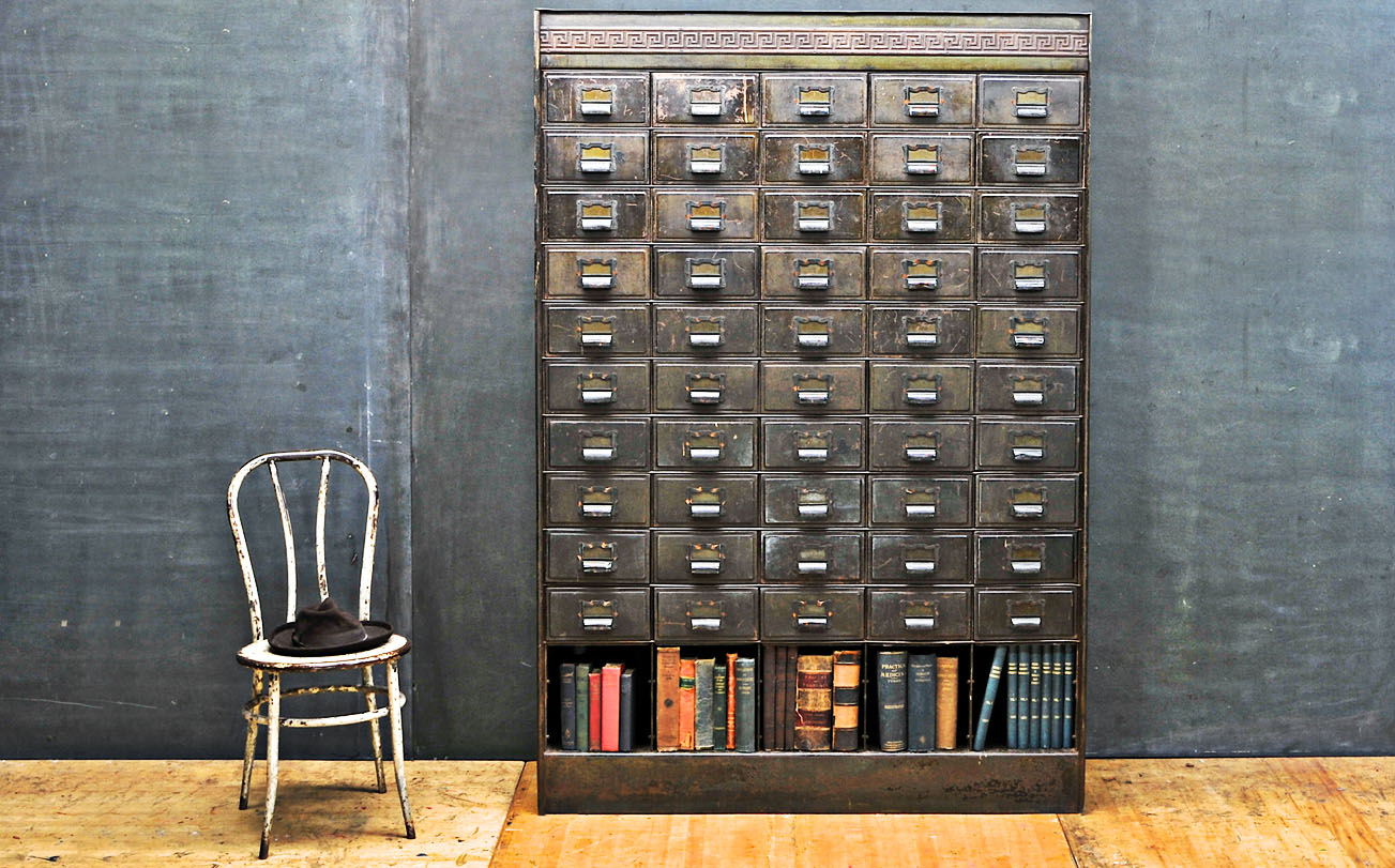 Victorian Era Apothecary Steel Wall Of Drawers Cabinet