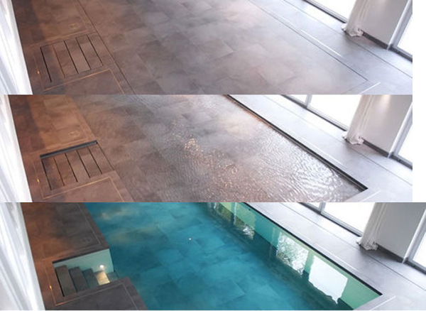 Hydrofloors swimming pool with movable floors for Swimming pool flooring materials