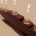 Il Veliero Eco-Menorah recycled oak wine barrel staves