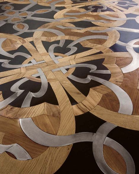 Metal Floor Inlays : Inlaid floor with wood stone metal
