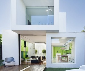 Interesting Green and White-Themed Home
