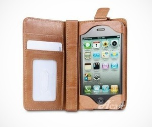 iPhone 4 / 4S Genuine Leather Wallet Case + Stand