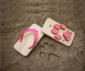 Japanese Wooden Sandals with Sweet Footprints