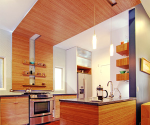 Kitchen with Bamboo Casework & Recycled Glass Countertops