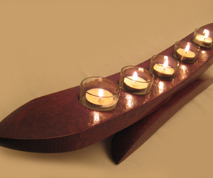 La Gondola, recycled oak wine barrel stave candleholder
