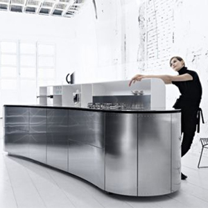 LaCucinaAlessi Curved Stainless Steel Kitchen