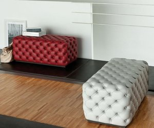 Leather Alcide Pouf by Porada