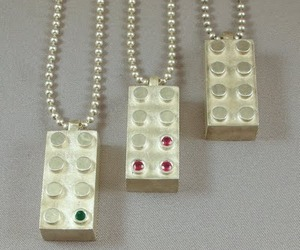 Lego-like sterling and gemstone jewelry & cuff links.