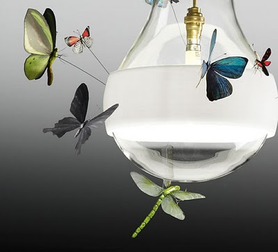 Butterfly Pendant Lamps With Insects.