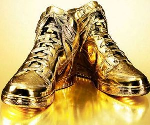 Limited Edition Gold Nike Dunks High Sneakers