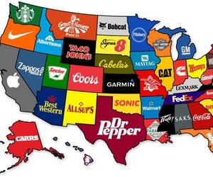 Map Illustrates the Most Famous Brands by State