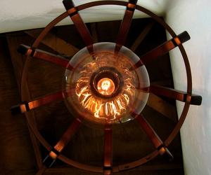 Medusa, recycled oak wine barrel light fixture