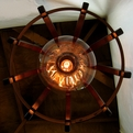 Medusa, recycled oak wine barrel light fixture