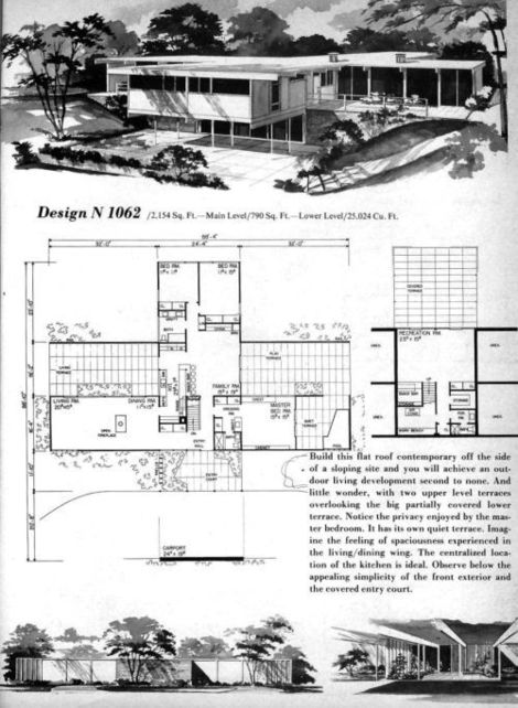 Mid century modern houseplans for Mid century modern home floor plans
