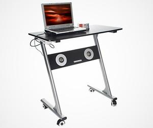 Minimal Computer Desk with Built-in Speakers