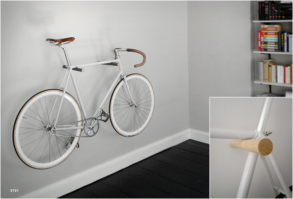 Minimal Wooden Bike Hooks