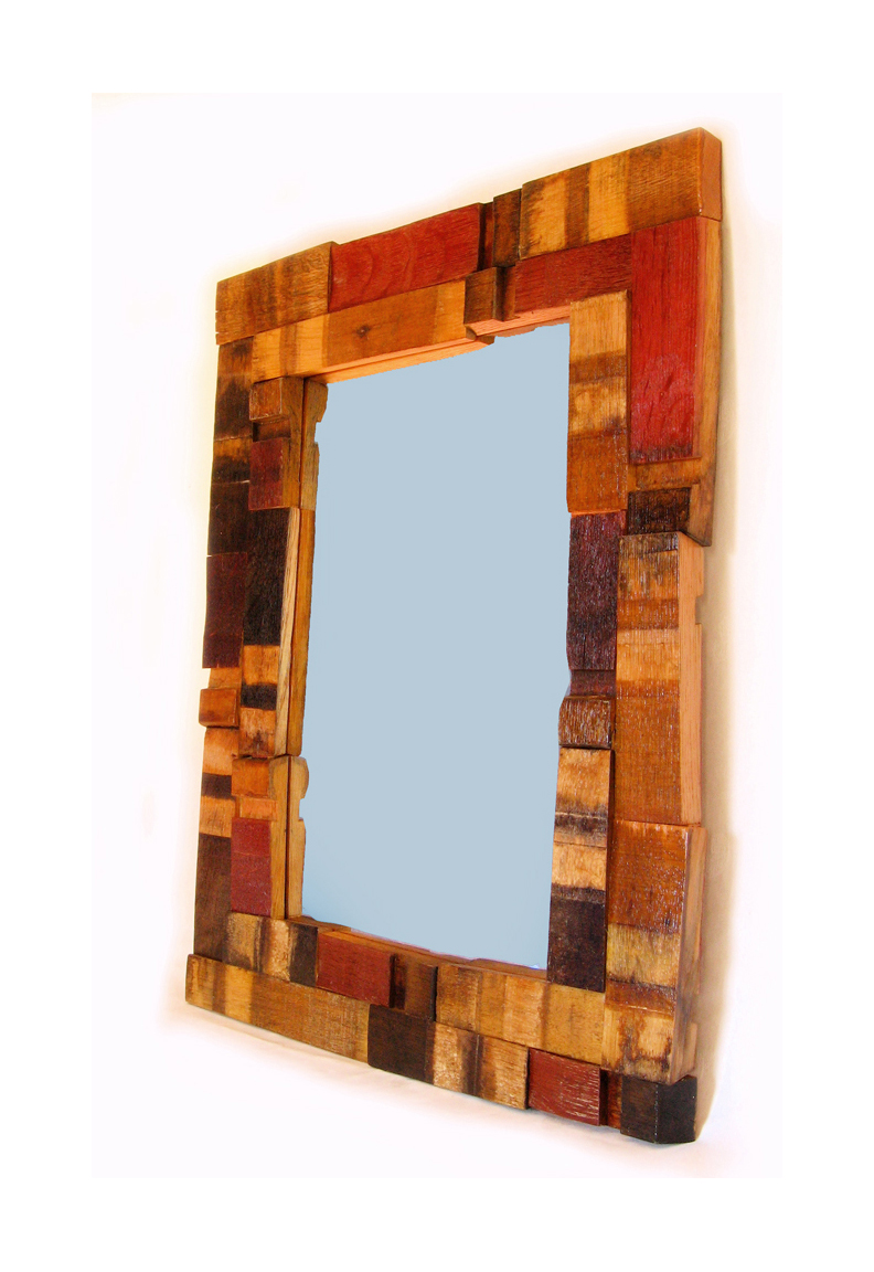 Mirrage large wall mirror recycled oak wine barrel staves for Wooden mirror frames for crafts