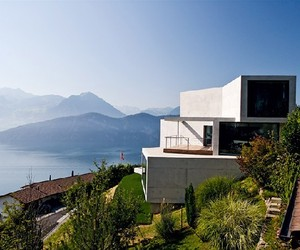 Modern Concrete Home Overlooking the Swiss Alps