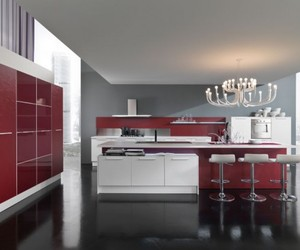 Modern Red and White Kitchen by Vitali Cucine