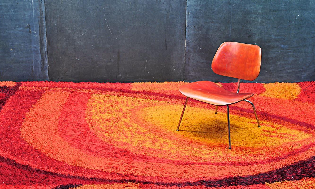 Monumental Danish Mid Century Modern Pop Art Rya Rug