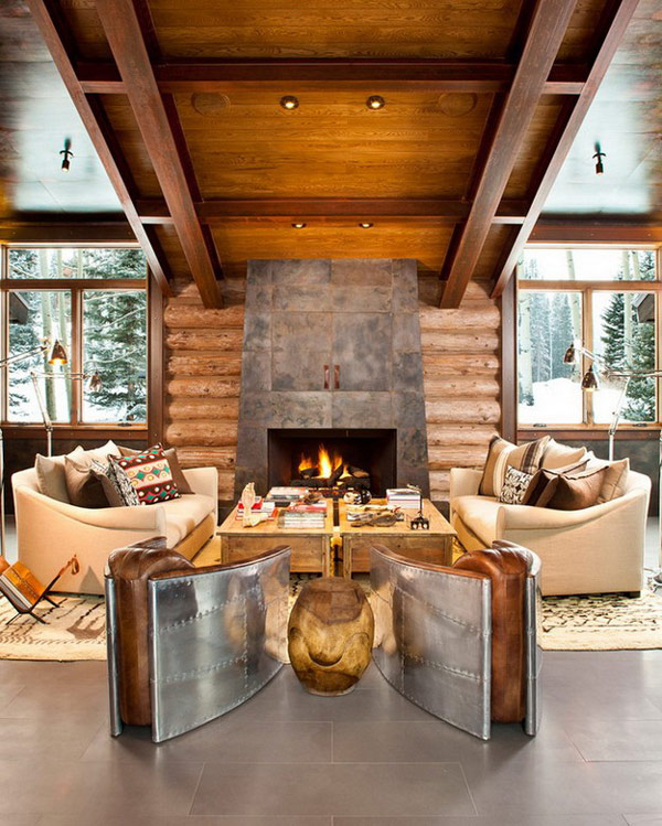 51 Modern Living Room Design From Talented Architects: Moody Cabin, Blends Rustic And Modern Details
