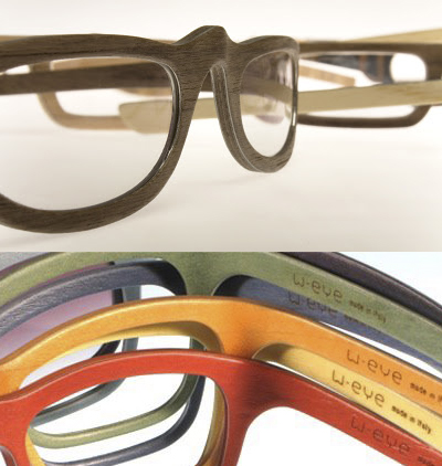 walnut counter top natural and stained wood eyeglass frames from italy