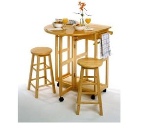 Natural Rolling Breakfast Table by Winsome Wood