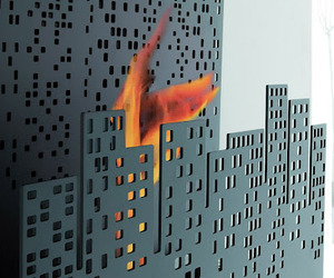 Nerone Wall Mounted Cityscape Bioethanol Fireplace