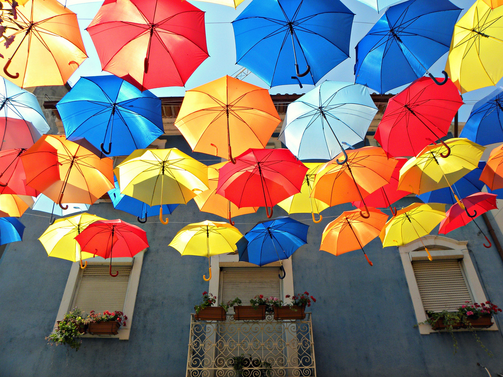 New Floating Colorful Umbrellas in Agueda by Ivo Tavares for Colorful Umbrella Photography  565ane