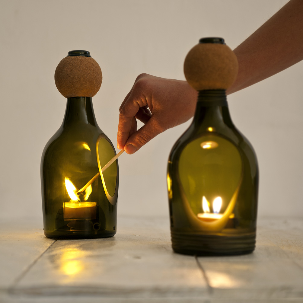 Nino candle holder by lucia bruni - Reciclar botellas de cristal ...