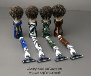 OOAK Shaving Brush and Razor Sets