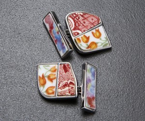 'ORANGE TULIPS'- PORCELAIN MENS CUFFLINKS