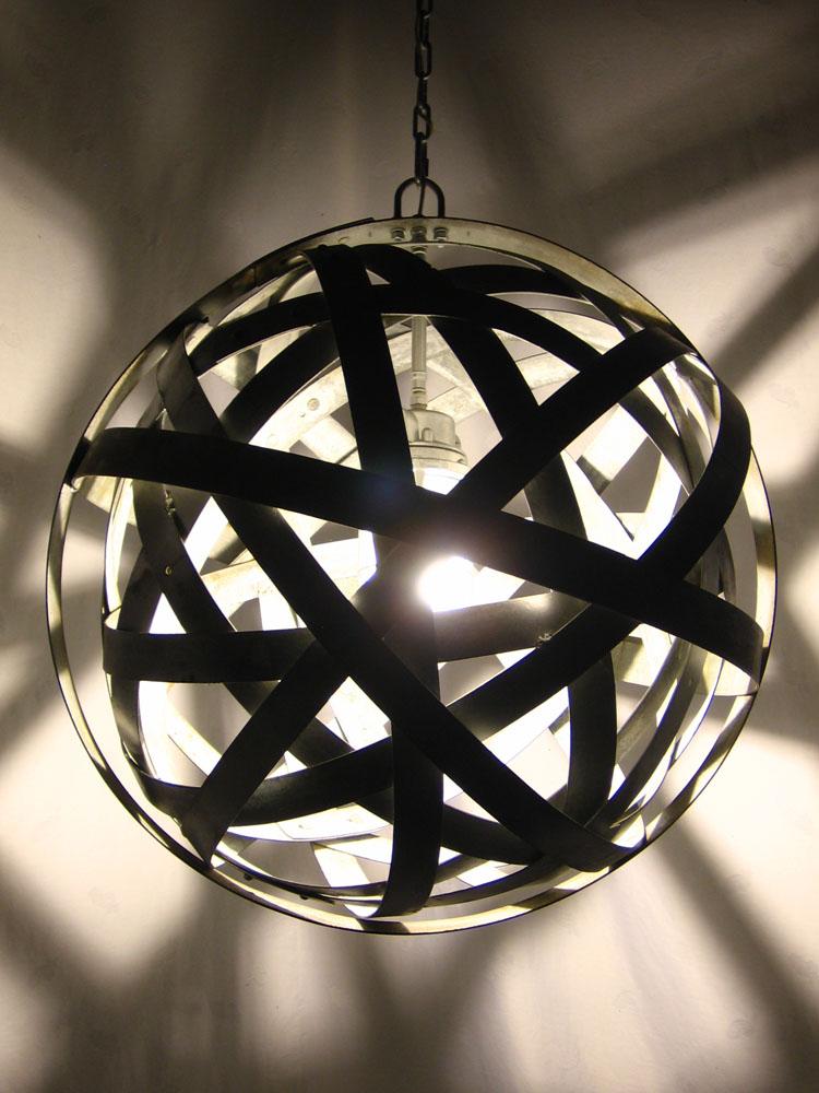 Orbits recycled wine barrel metal hoops urban chandelier - Making light fixtures ...