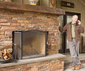 Outdoor Brick Fireplace With Wood Mantel By Bill Fry