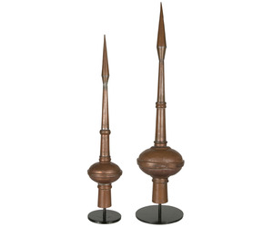 Pair of Antique French Copper Lighting Rod Finials