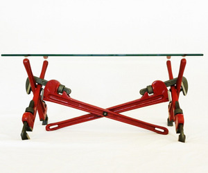 Pipe wrench coffee table by Jonathan Niemuth