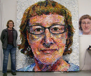 Portrait Made With Plastic Bottle Caps
