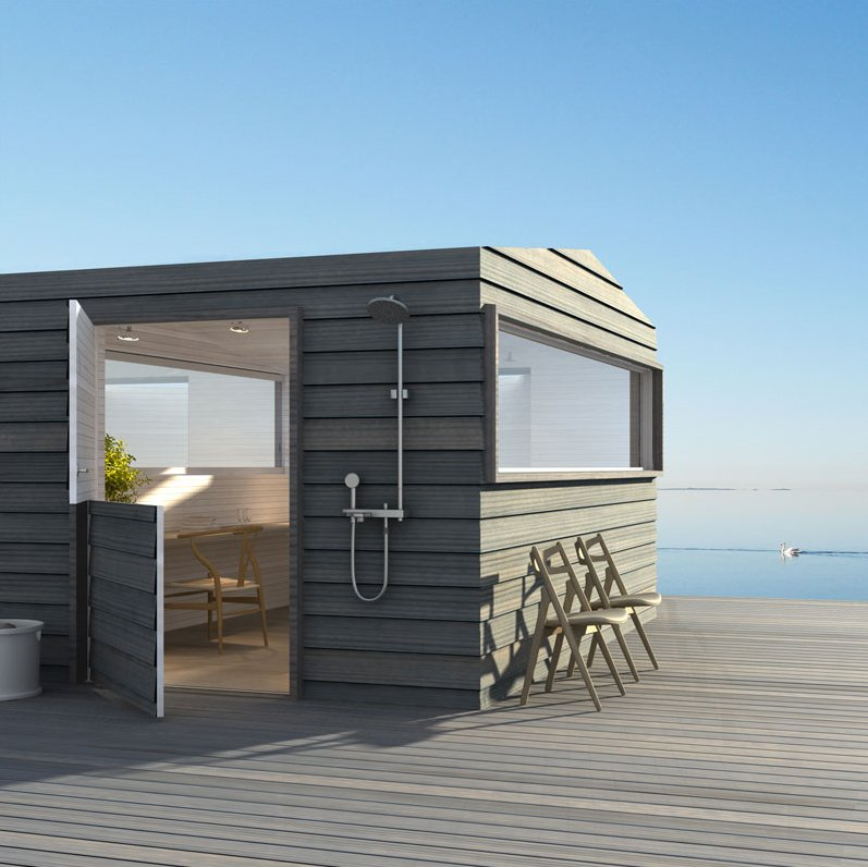 Prefab cabins designed by three of sweden 39 s best for Prefab beach cottage