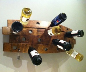 Reclaimed barrrel stave wine rack