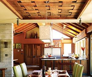 Reclaimed Redwood Basket Weave Ceiling