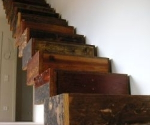 Reclaimed wood stairs in Schloss Wiesenburg by Jan Korbes