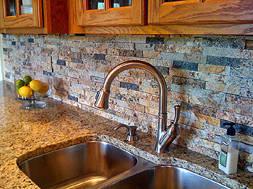 recycled granite split stone backsplash