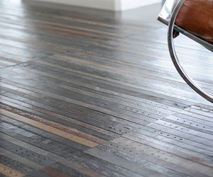 Recycled Leather Belt Flooring by TING