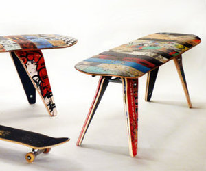 "Recycled Skateboard Bench - 48"" Two Seater"