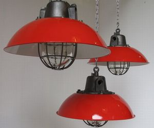 Red caged Czech pendant lights