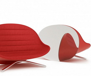 Red Sofa By The Glass Back by Raison Pure