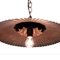 Refinished Vintage Galvanized Fan Shade Pendant Light