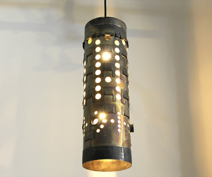 Repurposed Tall Titanium Aircraft Thruster Can Pendant Light