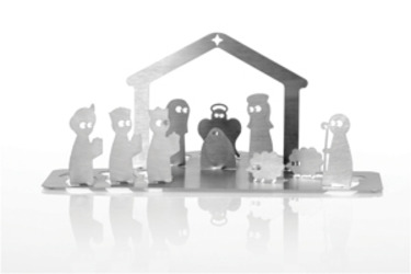 Ropo Pom Pom, Stainless Steel Nativity Scene
